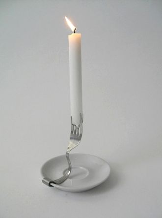 Gorgeous and simple upcycled candle holder. Love this. @Joanna Szewczyk Gierak Szewczyk Gierak Szewczyk Gierak Szewczyk Gierak Watson Donahue I like this!! Know where we can get some forks? ;)