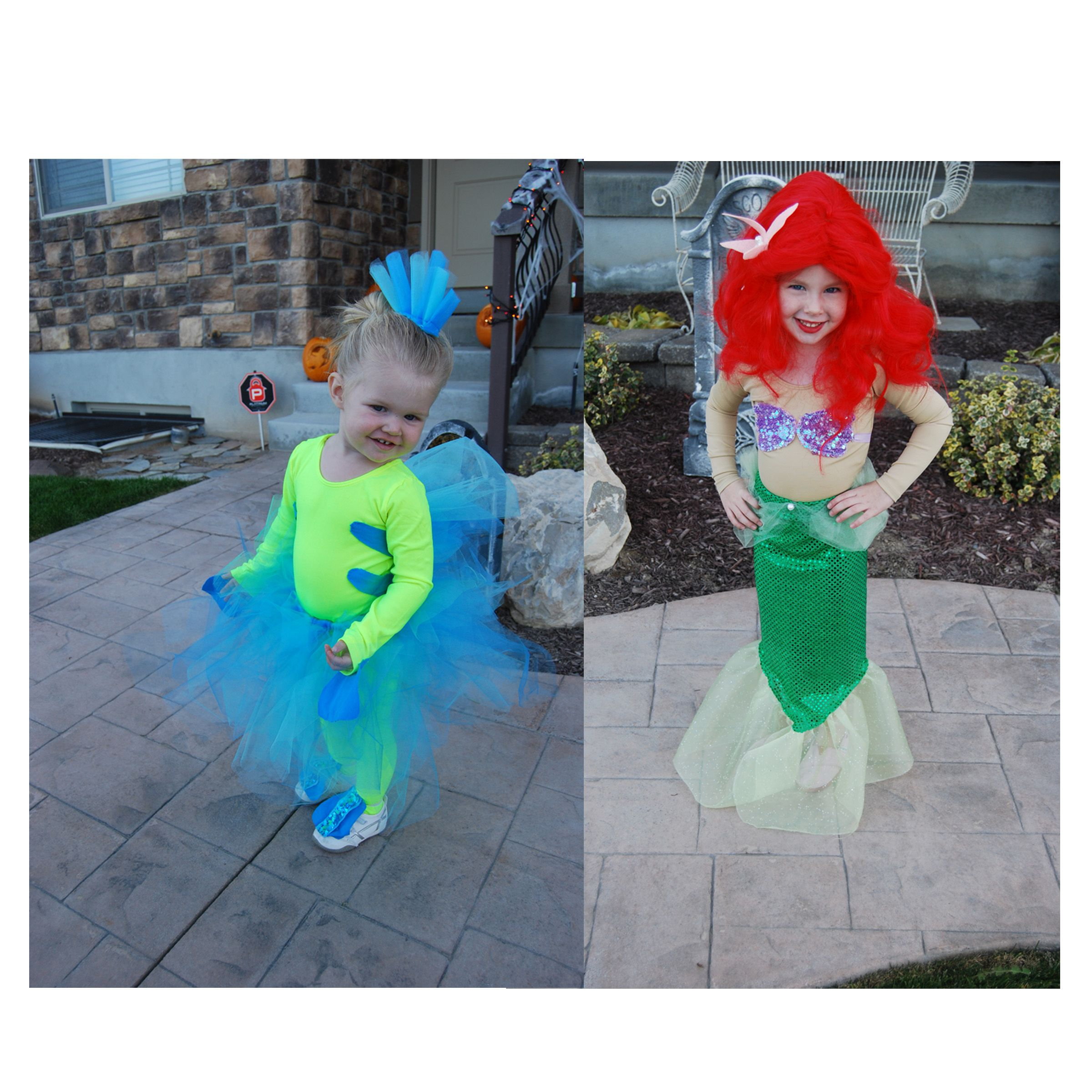 Ariel diy costume full diy mermaid costume post - Flounder And Ariel Homemade Costumes So Cute Really Like The Headpiece For Flounder
