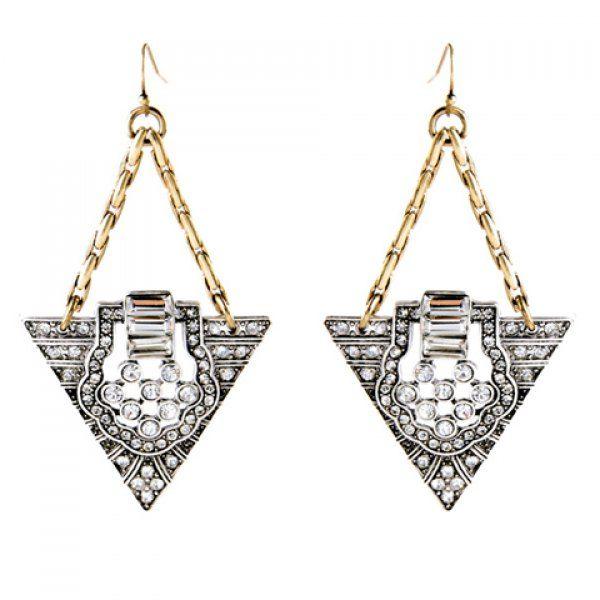 Pair of Vintage Rhinestoned Triangle Shape Earrings For Women