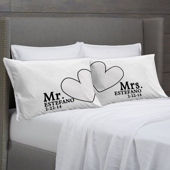 Mr And Mrs Pillowcases Personalized Wedding Anniversary Engagement Or Bridal Shower Gift Idea For S