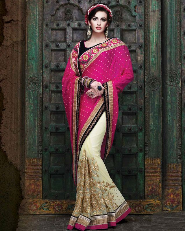 Dazzling Pink And Cream Color Half N Half Saree Item Code: 1561 For More Info. Please Visit http://www.shivoham.biz/product_info.php/manjaree/saree/dazzling-pink-and-cream-color-half-half-saree-p-602