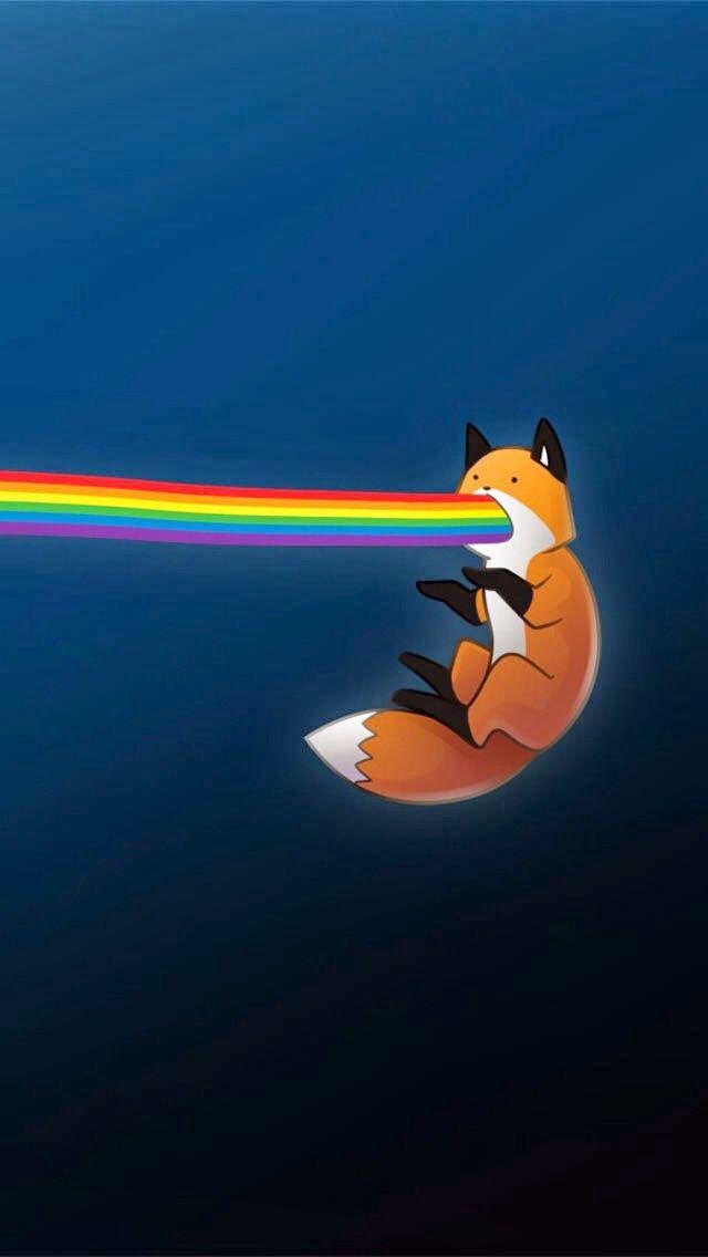 Rainbow Fox In 2019 Wallpaper Rainbow Wallpaper Funny