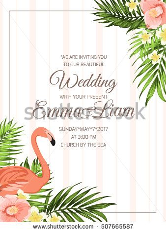 Wedding Ceremony Invitation Template Corner Frame With Flamingo