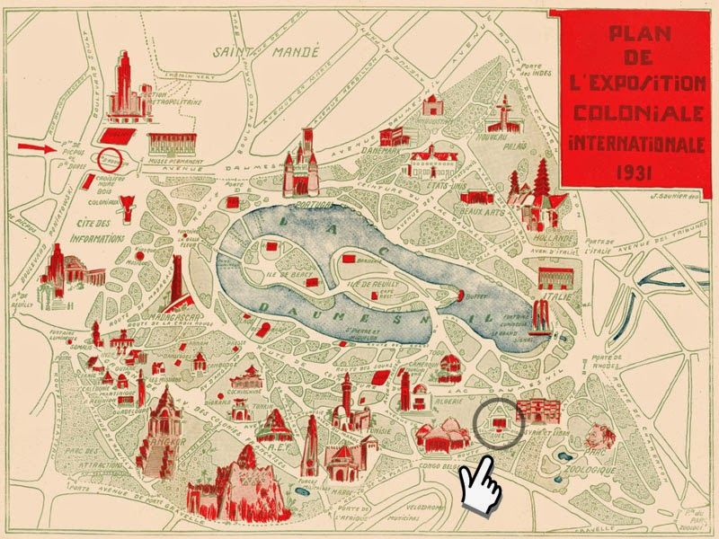 Map 1931 Colonial Exhibition Paris