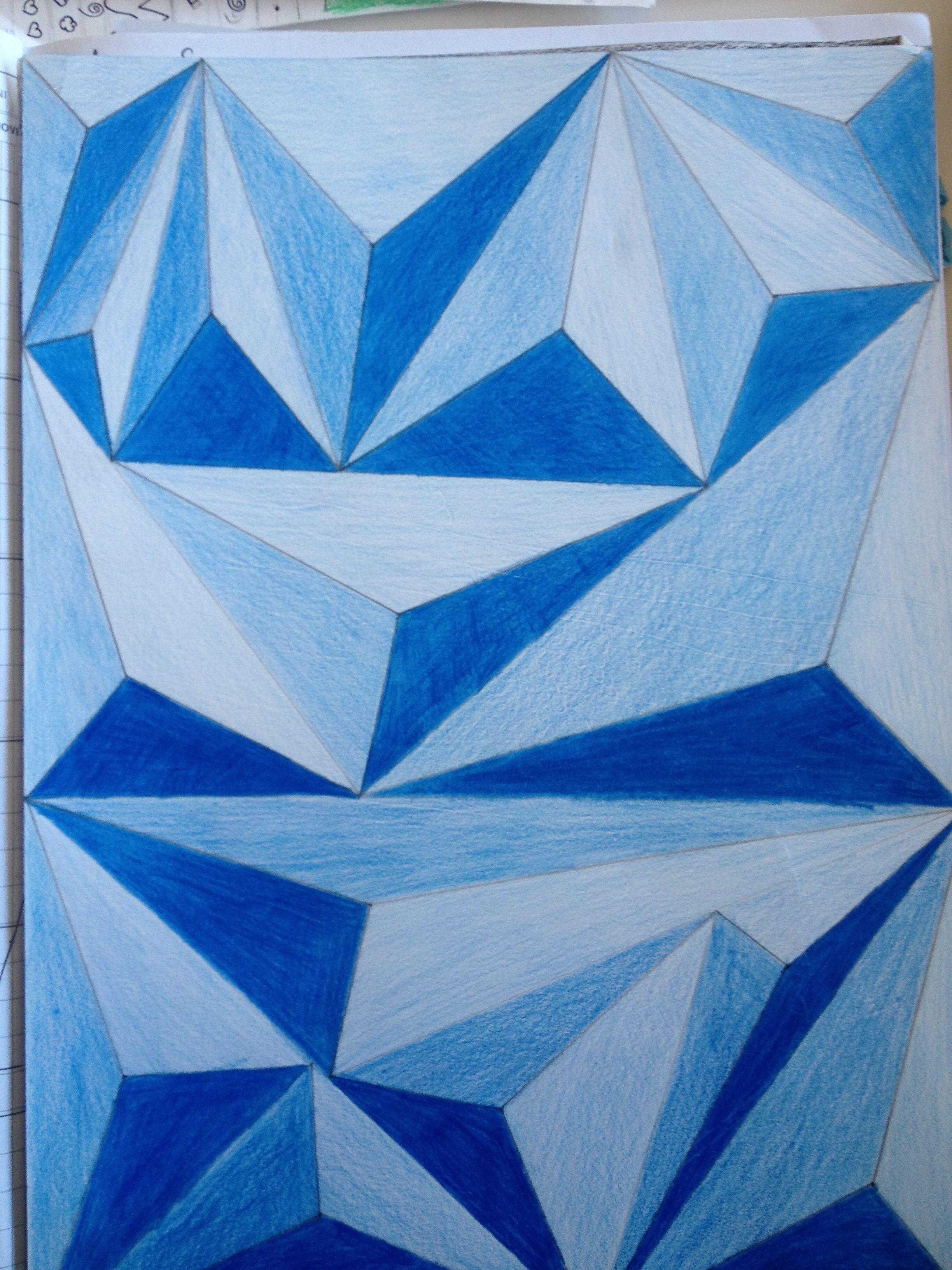 Blue Triangles Op Art In