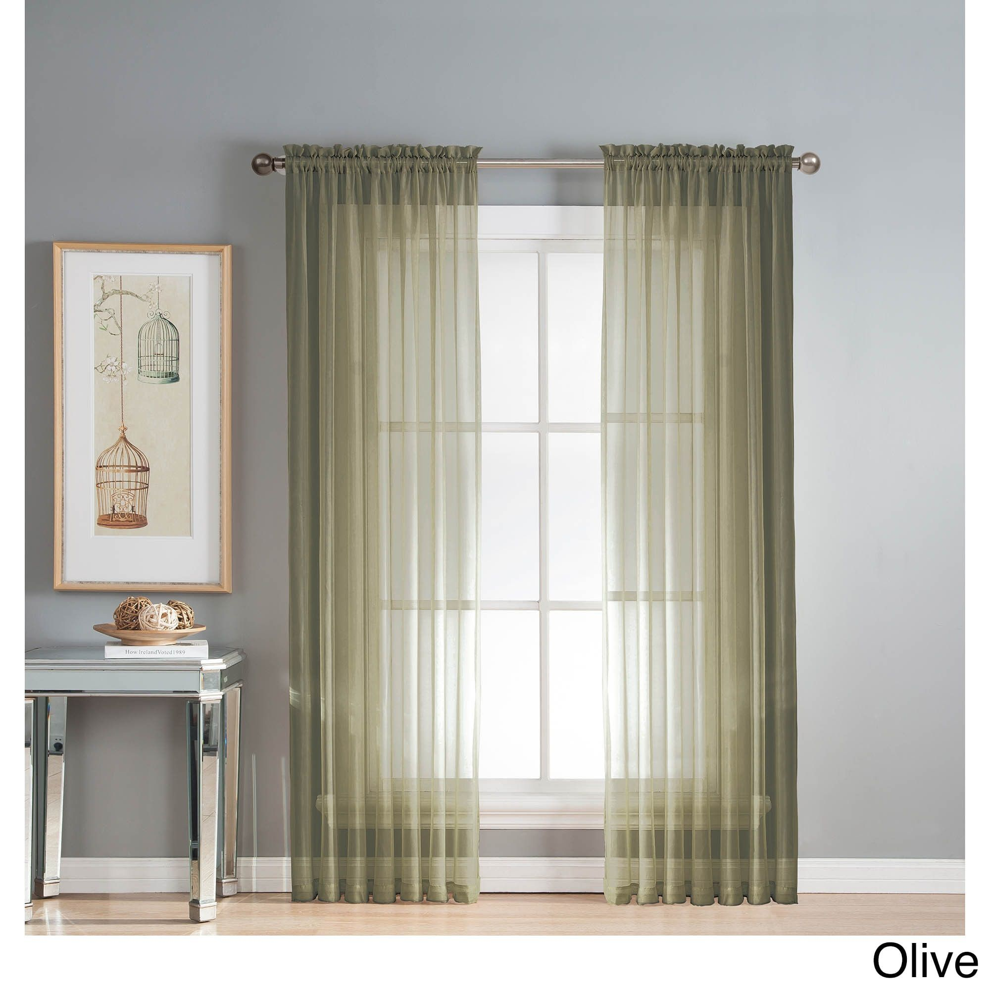 Window Elements Diamond Sheer Voile Extra Wide 90 Inch Rod Pocket Curtain Panel