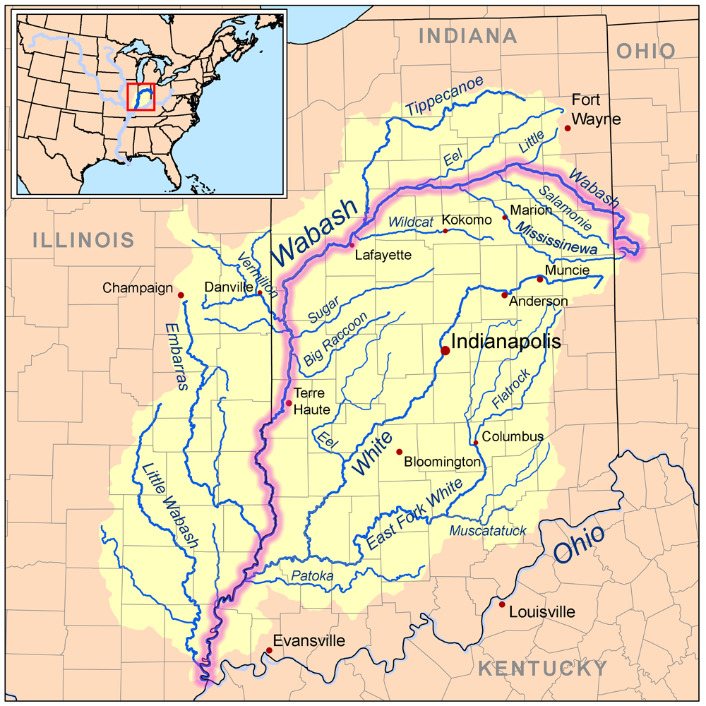 Wabashriver Map River Wabash River The Wabash Is The Longest River - America map with rivers