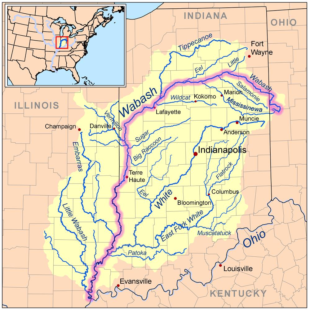 Wabashriver map River Wabash River The Wabash is the longest river