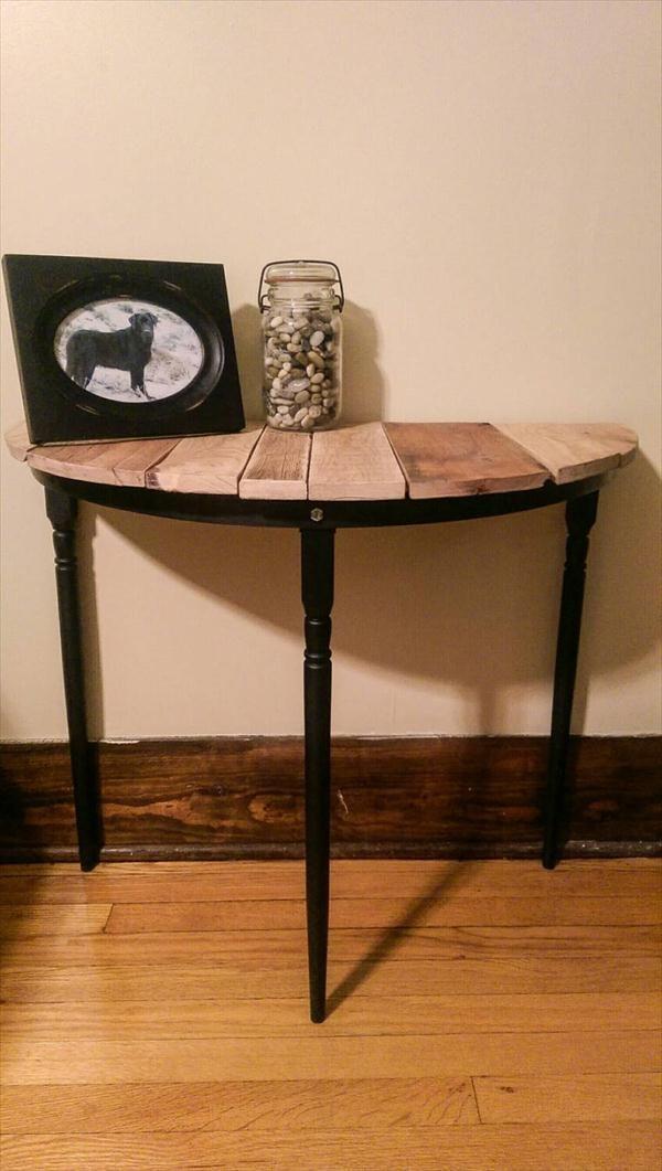 Diy Half Circle Pallet Entryway Table Side Or Nightstand