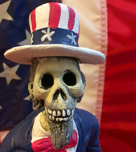 This great skeleton Caricature of Uncle Sam is Handmade in Mexico, Dia De Los Muertos Themed. A great skeleton to display for Halloween or Day of the Dead.