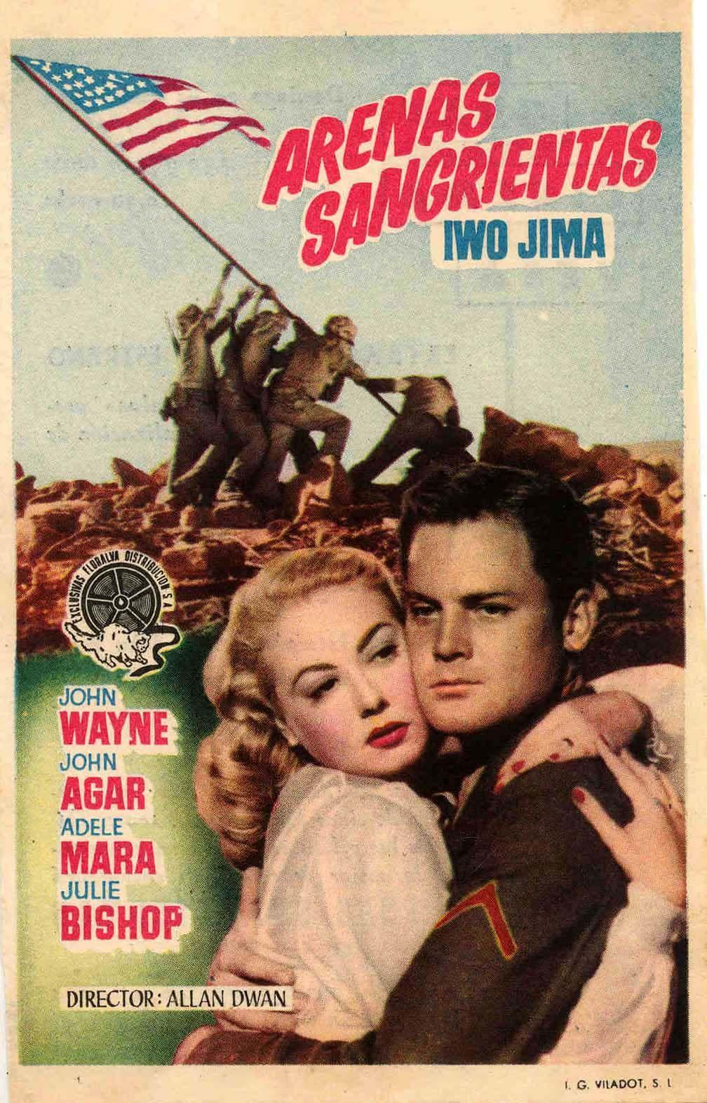 COLECCIÓN DE CARTELES ANTIGUOS DE CINE- Arenas sangrientas 1949, con John Wayne, John Agar, Adele Mara y Julie Bishop.