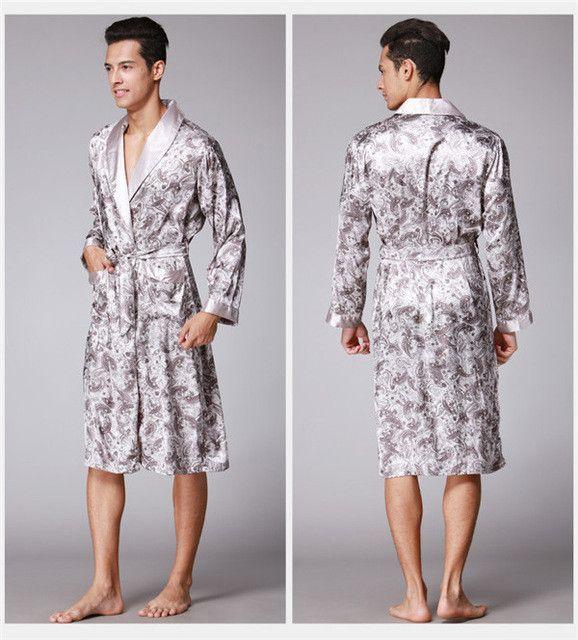 2017 Spring Summer New Luxury Print Silk Robe Male Bathrobe Mens