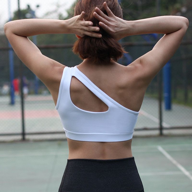 51995d48bade8 Find More Sports Bras Information about 2018 New Sexy Single Shoulder Sports  Bra Padded push up