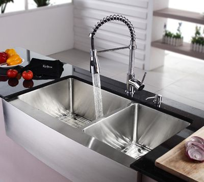 Kraus 36 Farmhouse Double Bowl Stainless Steel Kitchen Sink With