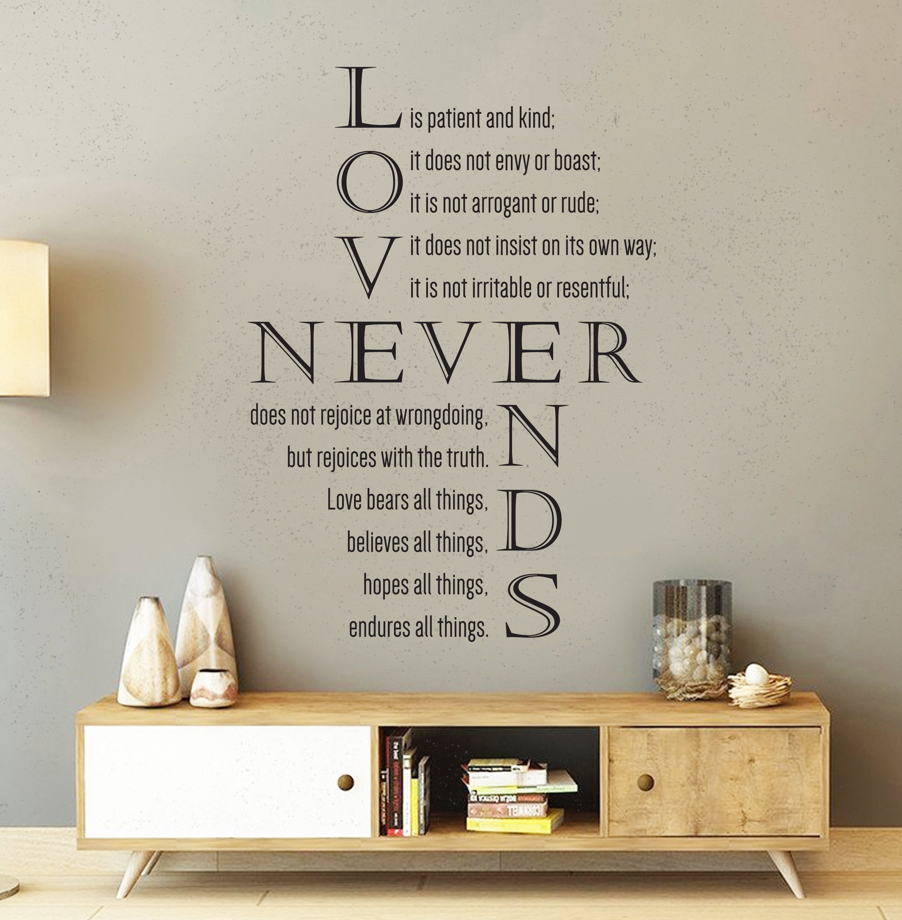 Vinyl Wall Decal 1 Corinthians 13 4 8 Love Is Etsy Vinyl Wall Decals Wall Decals Love Bears All Things