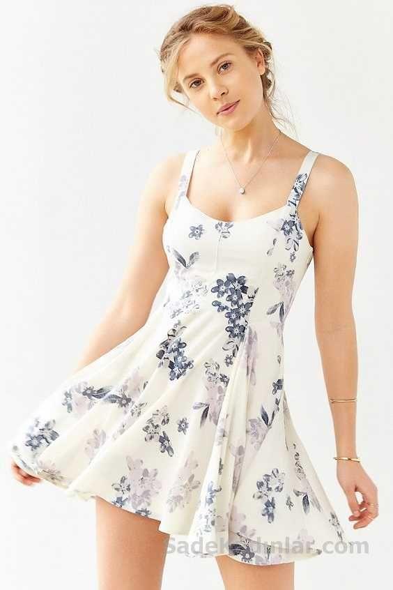 2020 Yazlik Elbise Modelleri Beyaz Kisa Askili Cicek Desenli Klos Etekli Elbise Elbise Modelleri Elbise Mini Elbise