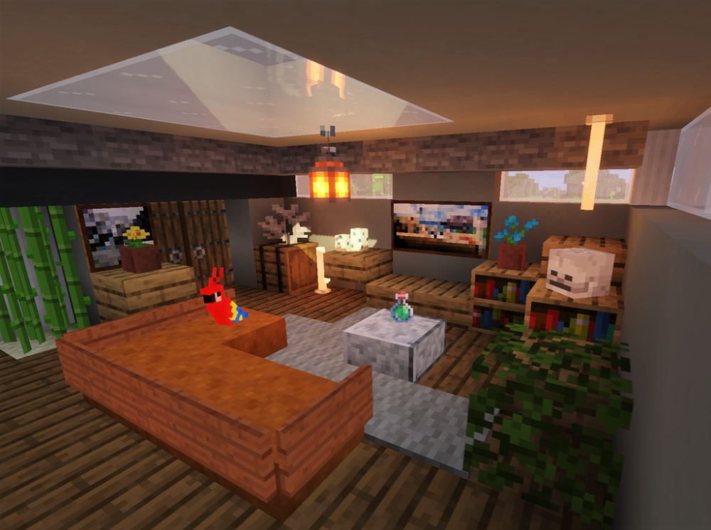 Cozy Living Room Detailcraft Minecraft Cottage Minecraft Interior Design Minecraft House Designs