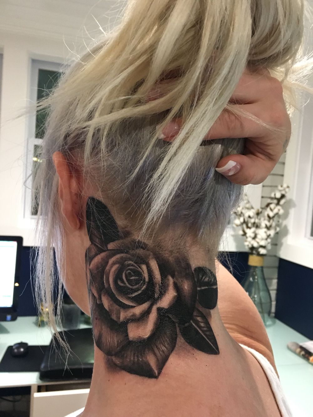 Rose neck tattoo black and white rose tattoo Rose neck