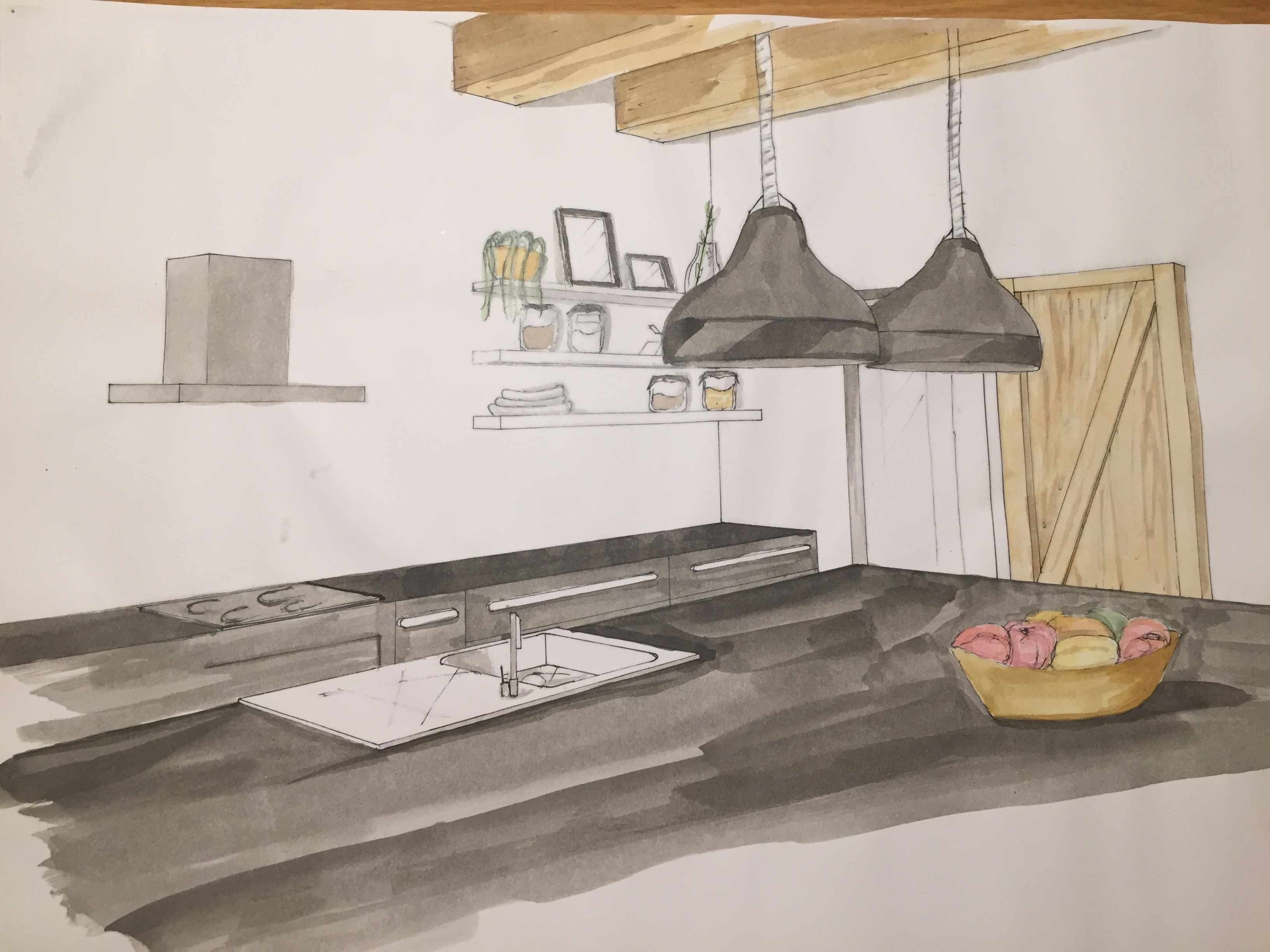 Perspective Cuisine Architecture D Interieur Architecture Interieure Architecture Interieur