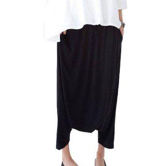 Allegra K Ladies Black Elastic Waist Capri Harem Pants Black XS Allegra K. $13.75