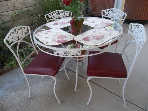 cottage roses vintage wrought iron round patio set table 4 chairs shabby garden