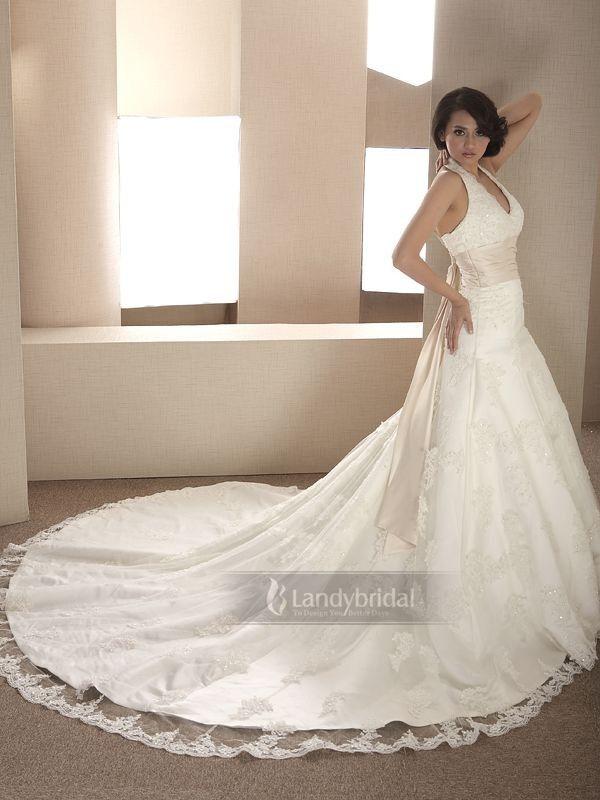 Tiefe Taille Brautkleider Neckholder Pinsel-Schleppe Weiß H700ld1120m1 für262€ # landybridal Elegant fashion dream wedding dress style