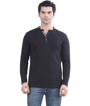 e75ec68ea57a60 Buy #Black Henley #T-Shirt Online for best price of Rs.299 only at  maniaclife.com