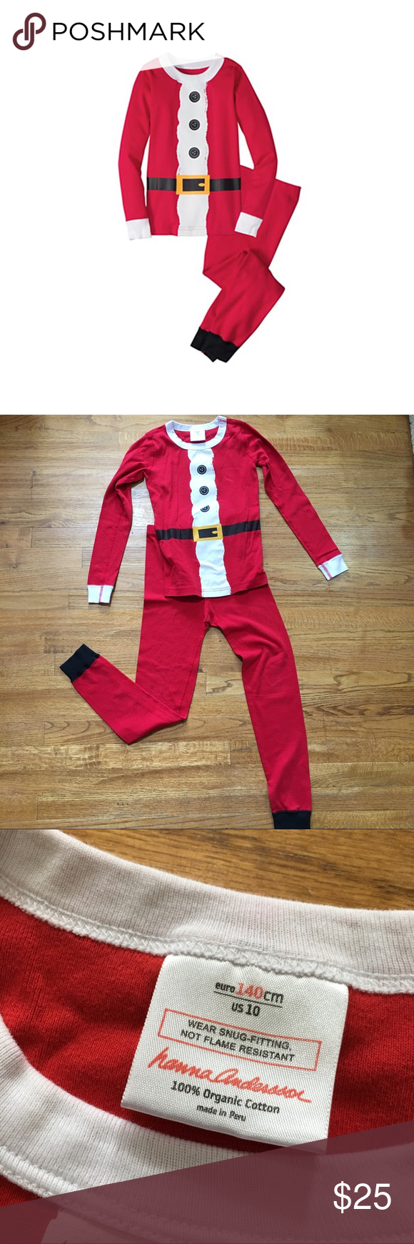 Hanna Andersson St. Nick Pajamas Santa Red 140 10 As tots wait for Santa to 4f40c6010