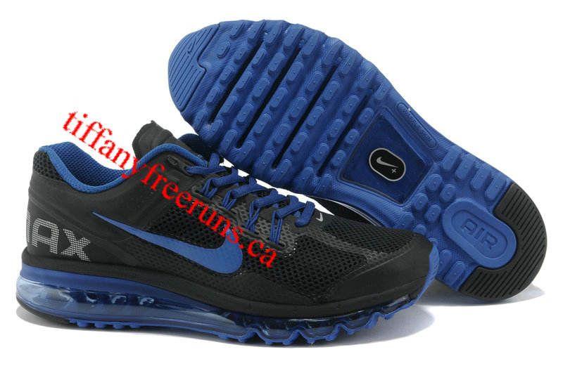 nike air max 2013 mens black royal blue running shoes