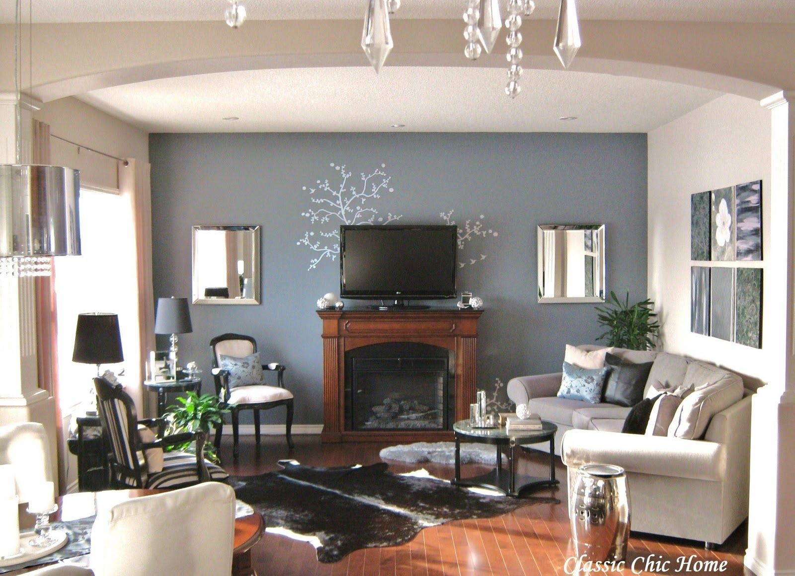Living Room Arrangements With Corner Fireplace Photo