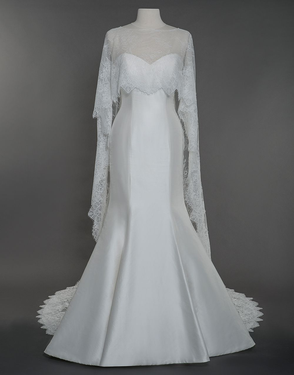 Sincerity Wedding Accessories Style A107 This All Over Chantilly Lace Cape With Train Is Ethe Wedding Dress Couture Designer Bridal Gowns Couture Bridal Gowns