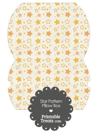 Large Vintage Orange Star Pattern Pillow Box from PrintableTreats.com