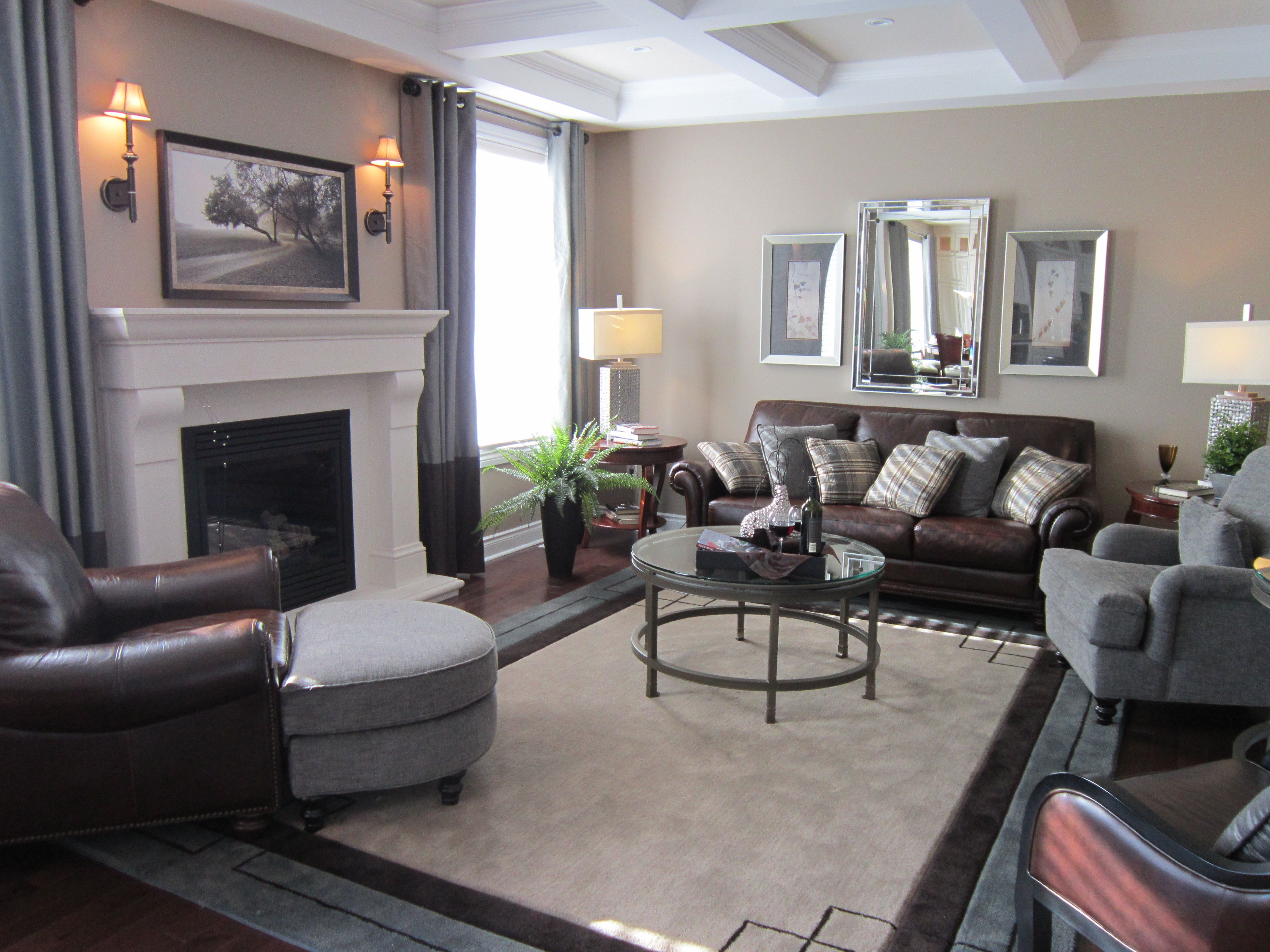 comfy and cozy living room i love the detail in the ceiling and