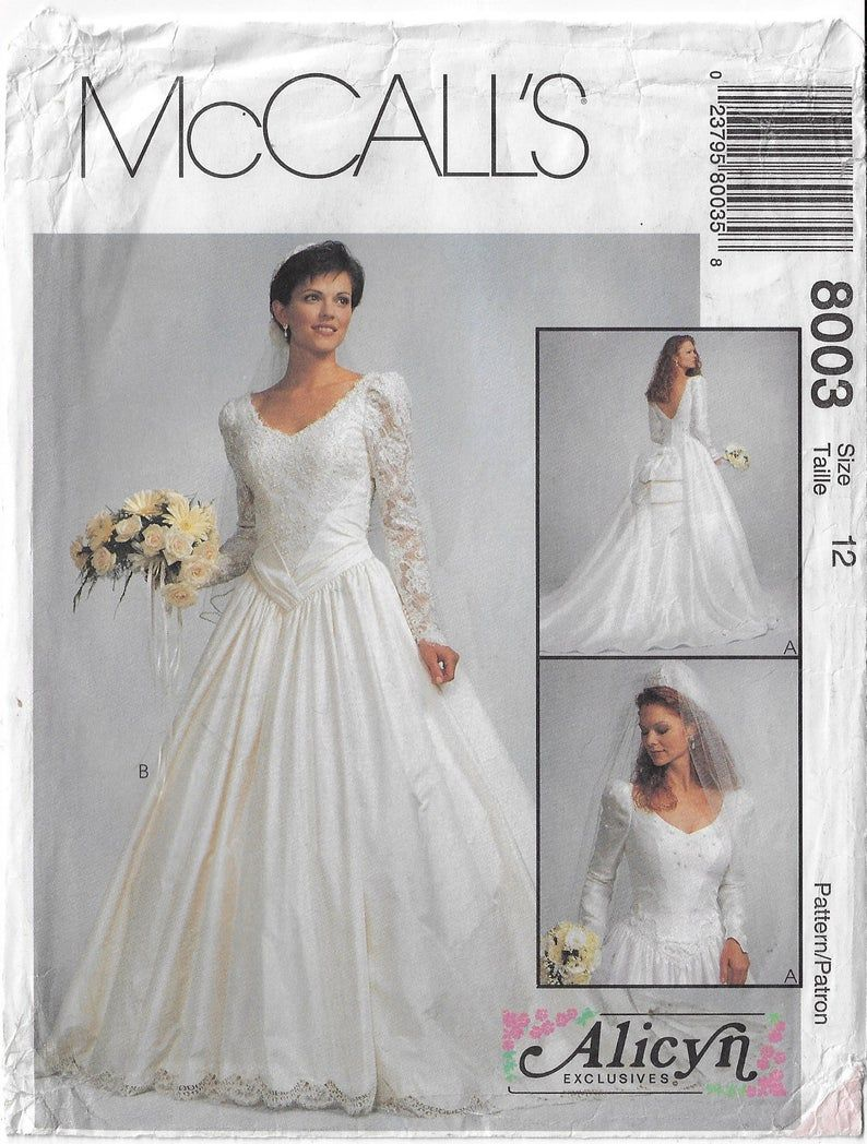 90s Mccalls Sewing Pattern 8003 Alicyn Exclusives Womens Etsy In 2020 90s Wedding Dress Wedding Dress Patterns Bridal Gown Fitting