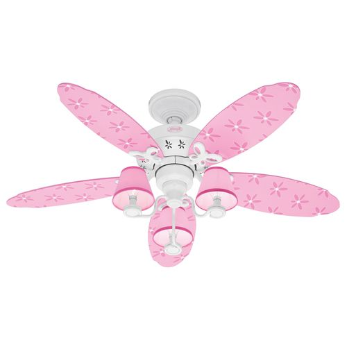 Hunter fan 23781 dreamland ceiling fan white with pink blades and shades