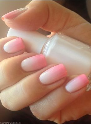 Ombre Pink And White Nails Fashion Pinterest Nails Nail