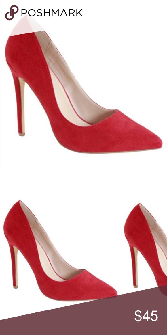 Sexy high heel Red suede pumps