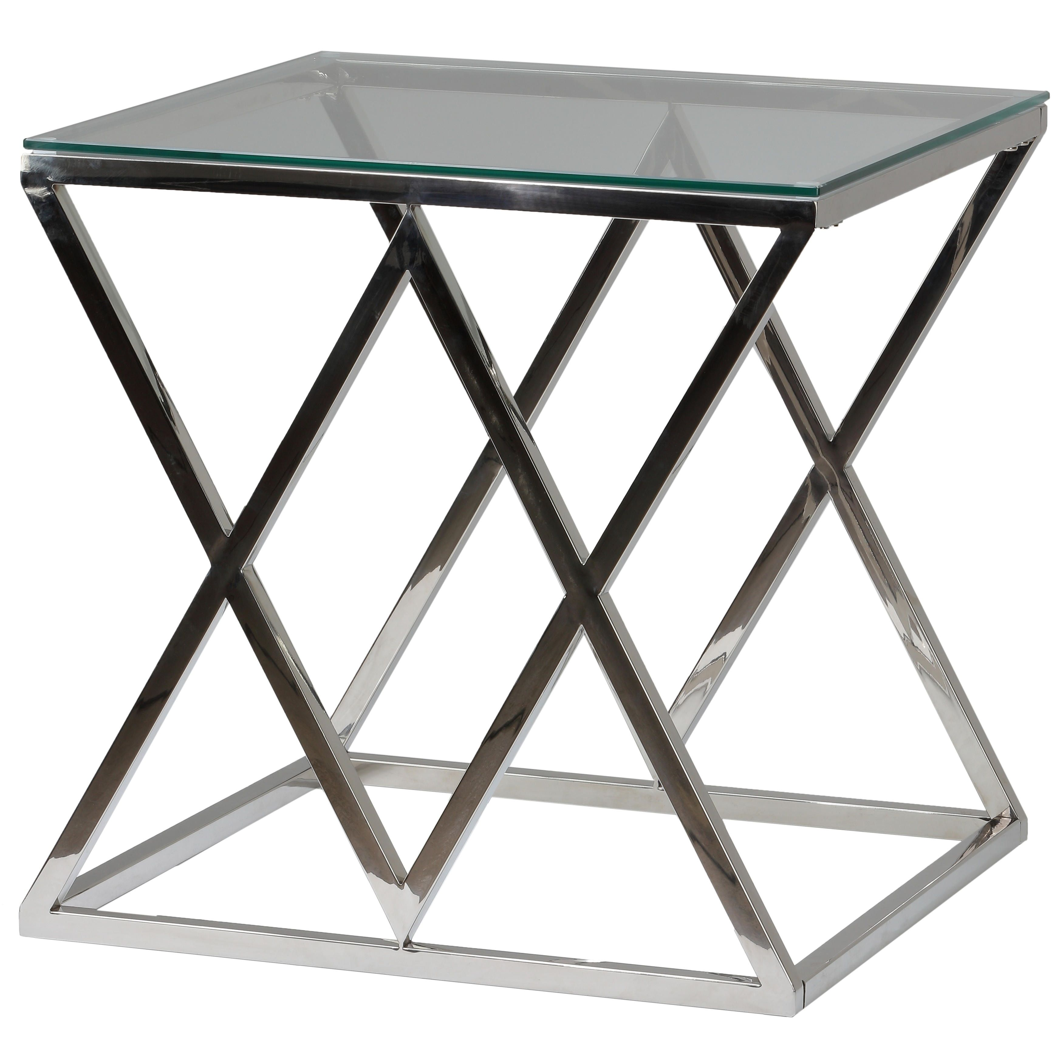 Cortesi Home Gwen Contemporary Glass End Table Silver