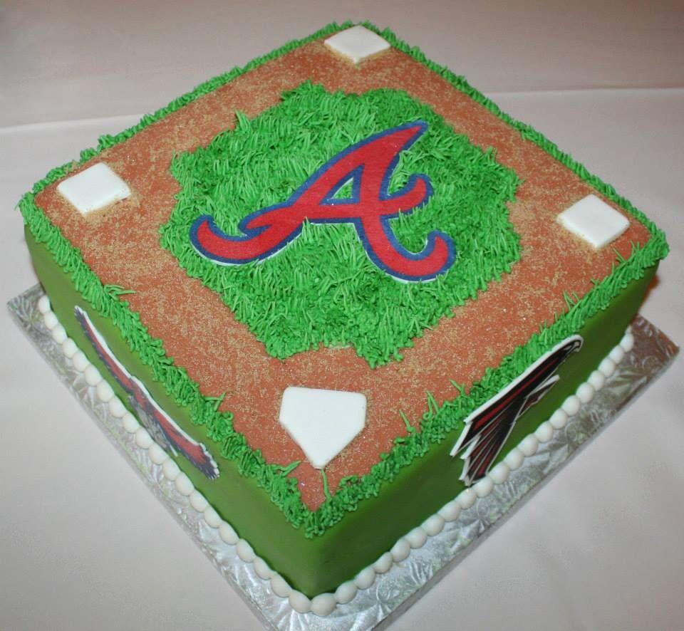 Atlanta Braves Baseball Birthday Cake Field
