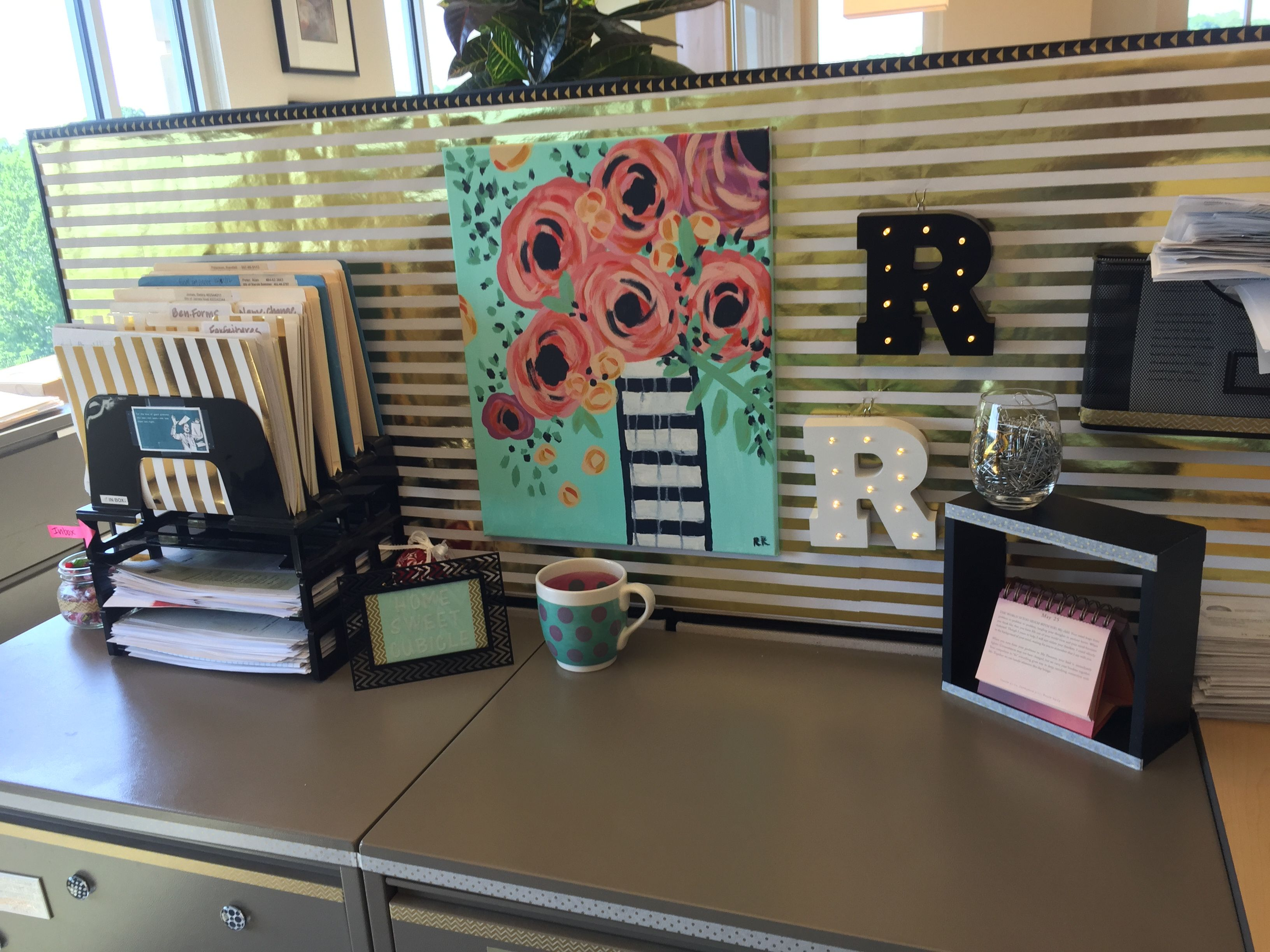 Cubical decor black white gold and mint created by Cubicle desk decorating ideas