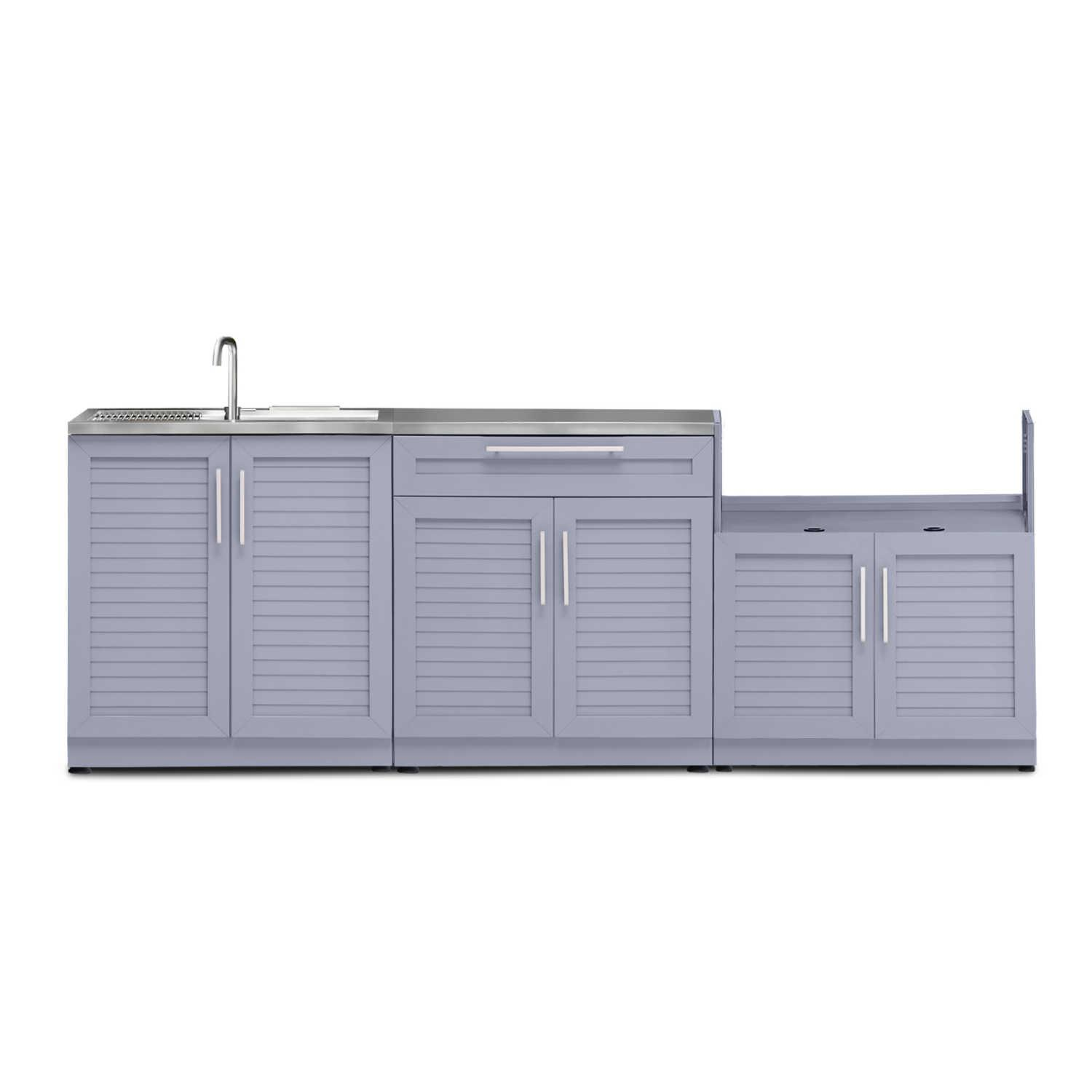 Newage Outdoor Kitchen 4 Piece Set With 33 Inch Insert Grill Cabinet Sink And Bar Center Coastal Gray 65458 Backyard Storage Outdoor Kitchen Cabinets Adjustable Shelving
