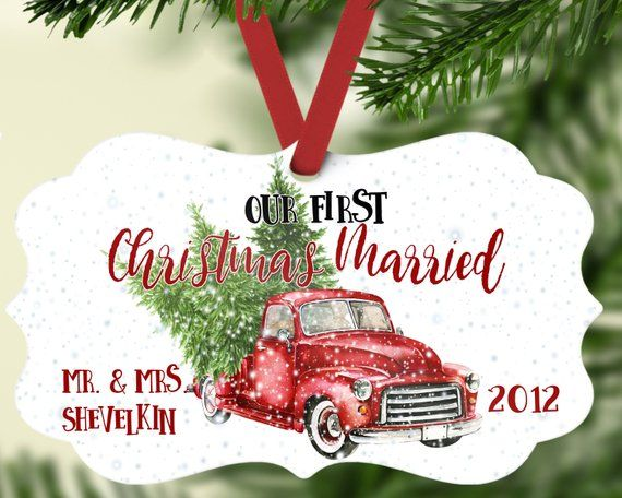 Our First Christmas Married Ornament, Personalized Christmas