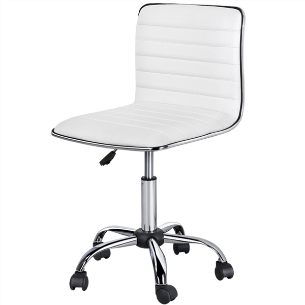 Topeakmart Office Desk Chair Adjustable Low Back Armless Computer Chair Ribbed Task Chair W Wheels White Walmart Com In 2020 Upholstered Desk Chair Desk Chair Cheap Desk Chairs