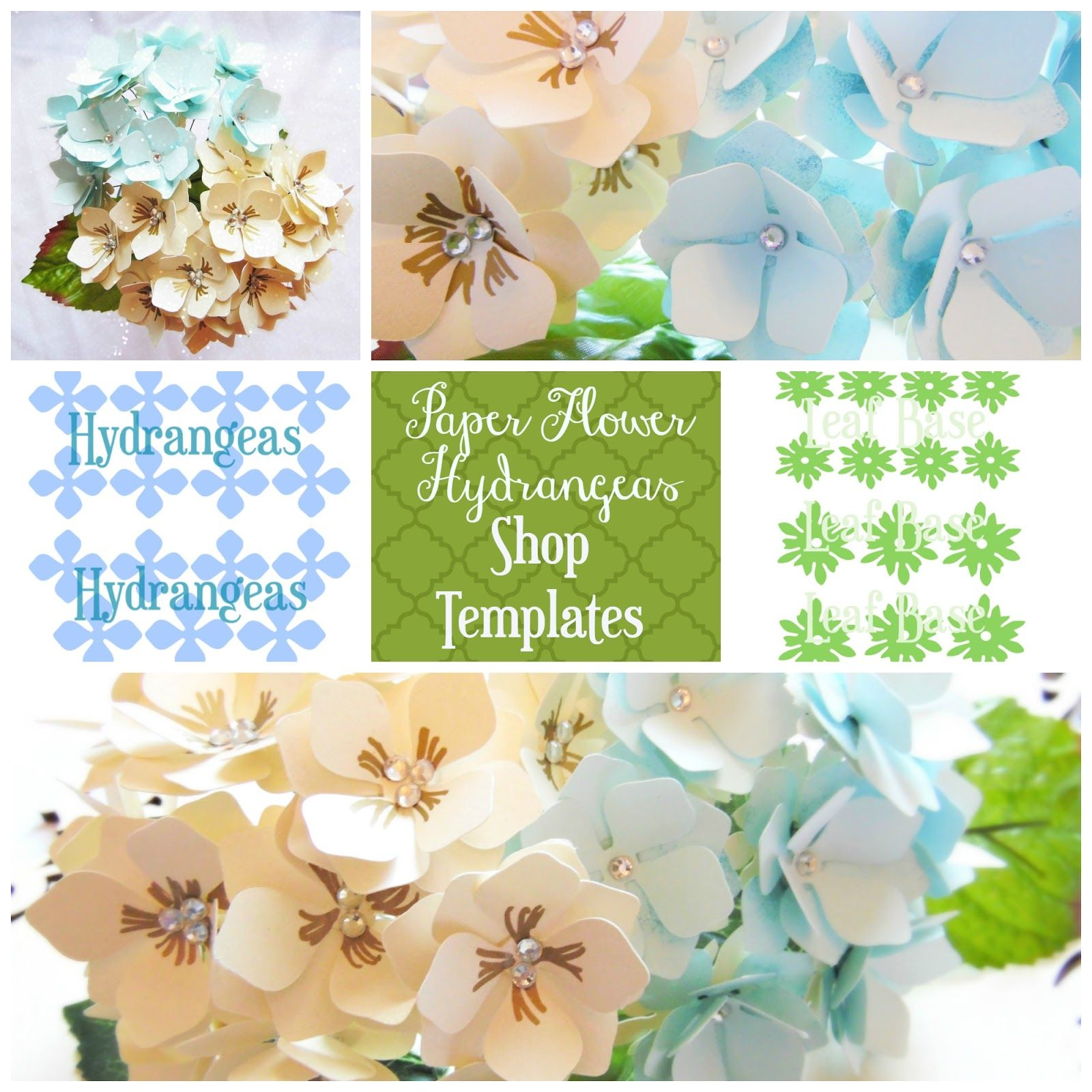 Easy Diy Paper Flower Hydrangeas Via Http Www Apinchofjoy Com 2016 05 Busy Monday 218 Flower Templates Printable Flower Template Paper Flowers