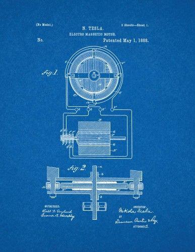 Tesla electro magnetic motor patent print art poster blueprint 11 tesla electro magnetic motor patent print art poster blueprint 11 x 14 malvernweather Gallery