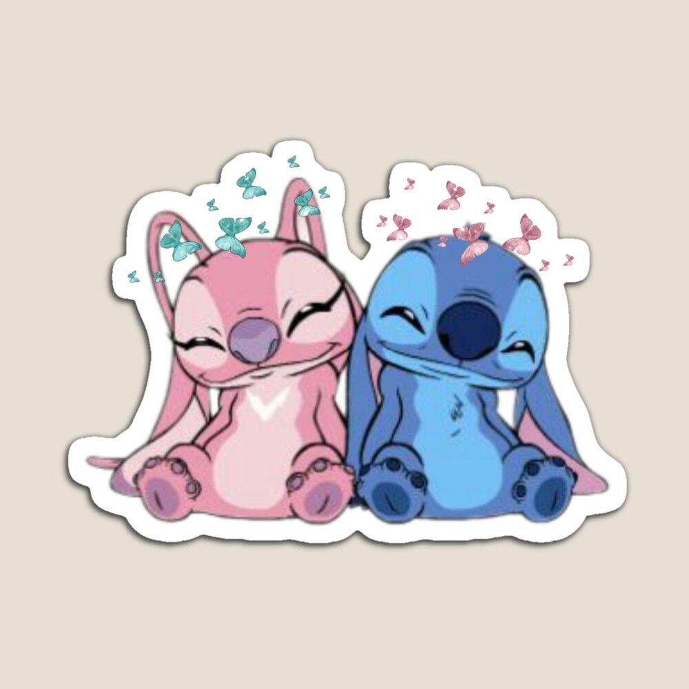 X4 Floral Stitch and Angel Disney Sticker.