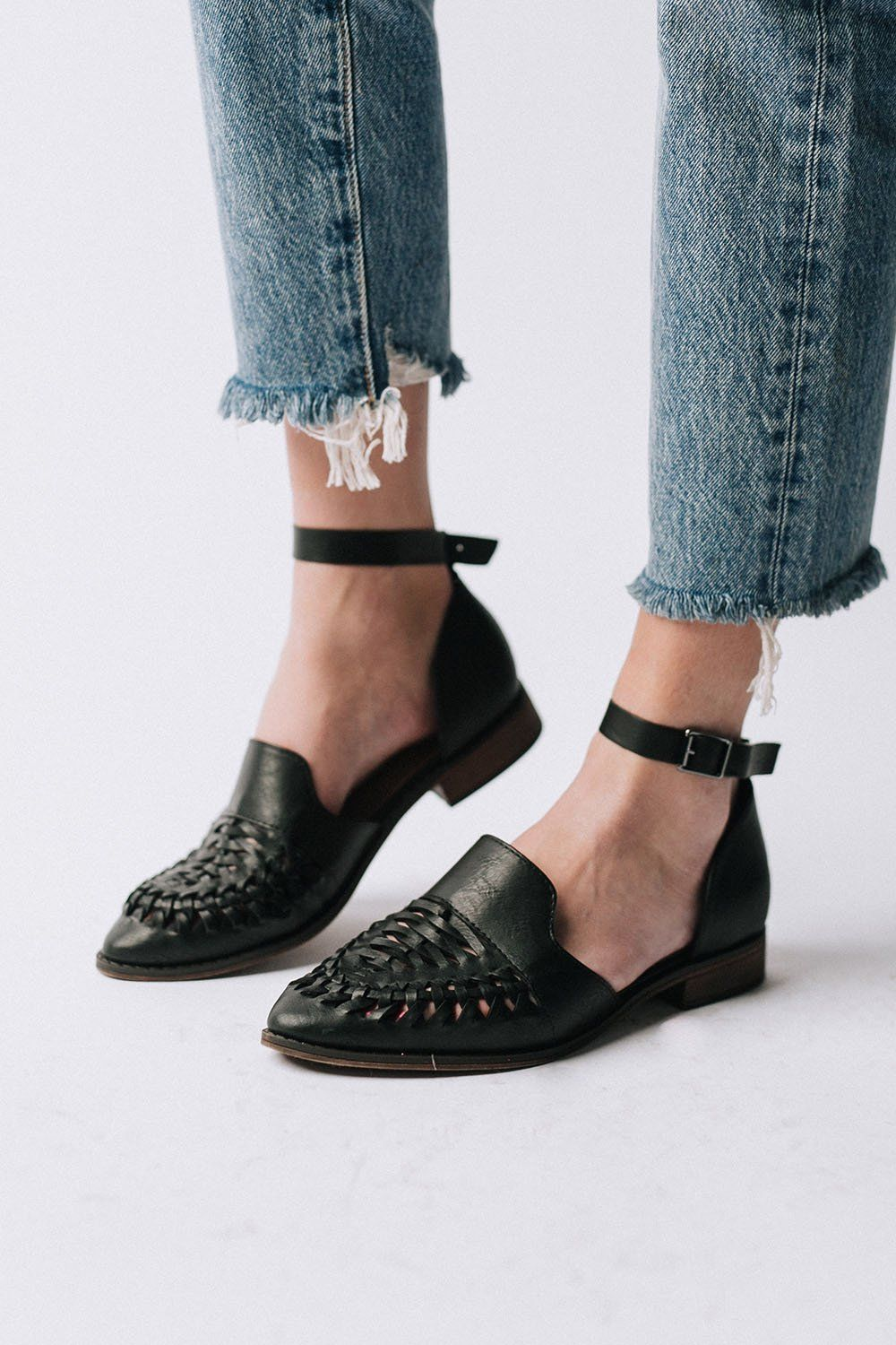 5bc23dba36297 Details: Faux black leather Braided, pointed toe Removable ankle strap Low  block heel Fits true to size