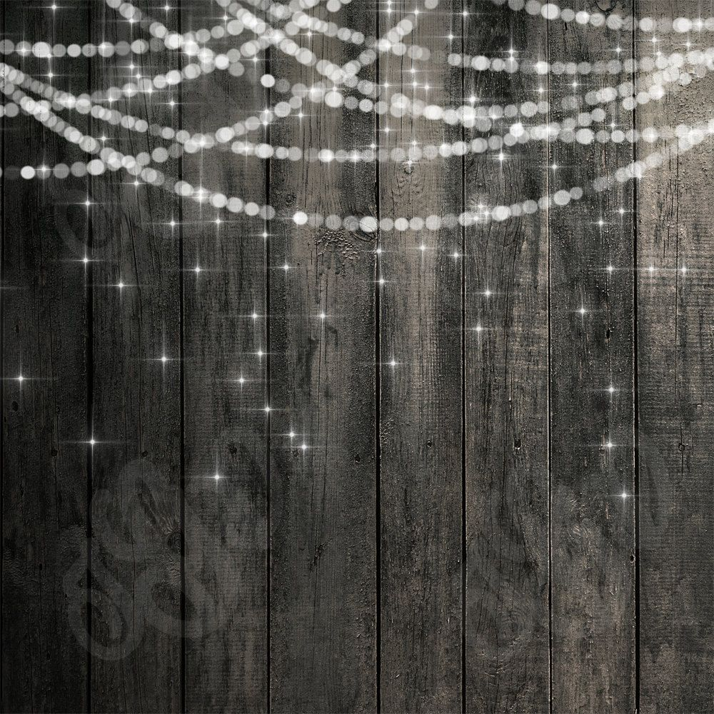 Bokeh String Lights Rustic Wood & Chalkboard Digital ...