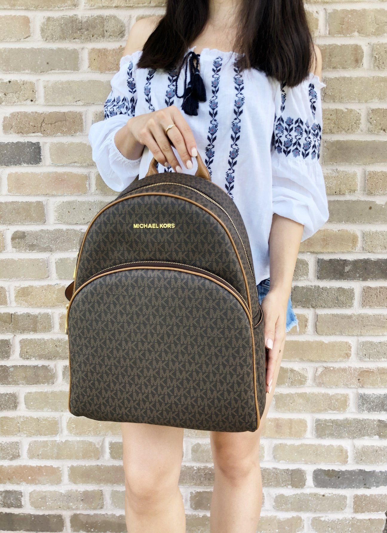 dc561ac1927c Michael Kors Abbey Large Backpack Brown MK Signature PVC Leather 2018 Fall  - Gaby s Bags