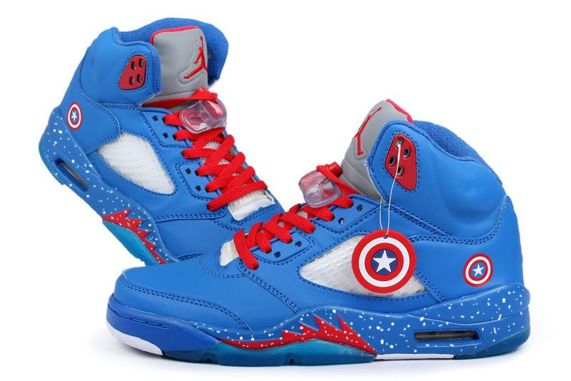 new concept 5d711 681db Air Jordan 5 Marvel Captain America Custom J S✨ sexy